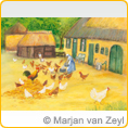 Postcards M.v.Zeyl - Chicken in the yard - 10 pcs