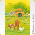 Postcards M.v.Zeyl - What are you doing, little hen? - 10 pcs