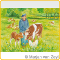 Postcards M.v.Zeyl - Cow with her calf - 10 pcs